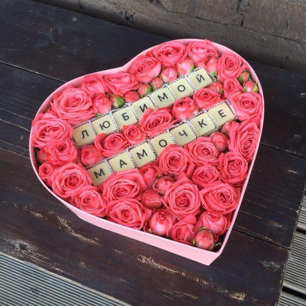 Коробка цветов для мамы